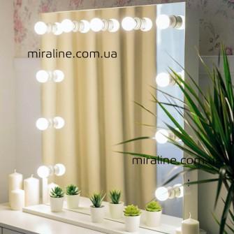 "Макияжное зеркало на ножке с лампами ""Монти"" 80х80 см"